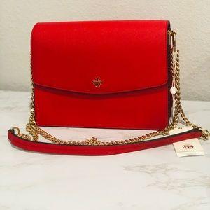 Red Tory Burch Adjustable Shoulder Bag
